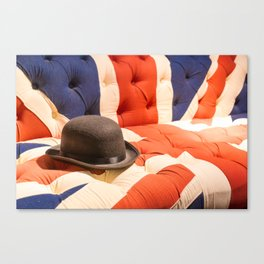 Black Bowler Hat on Union Jack Chesterfield Sofa Canvas Print