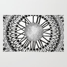 Time and Space Zoomed in Black, Grey, and White Mandala Rug