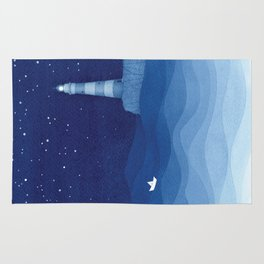 Lighthouse & the paper boat, blue ocean Rug