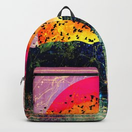 Neon Pastel Mystic Mountain Sun Backpack