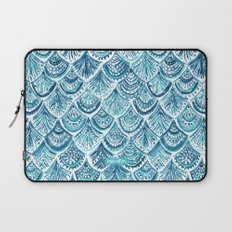 NAVY LIKE A MERMAID Fish Scales Watercolor Laptop Sleeve