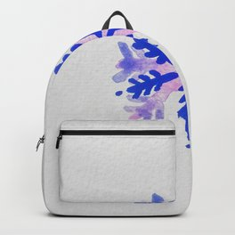 WATERCOLOR SNOWFLAKE 7 - blue and purple palette Backpack