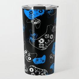 Video Game Blue on Black Travel Mug