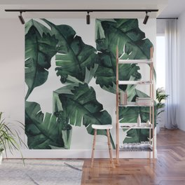 Banana Leaves Pattern Green Wall Mural