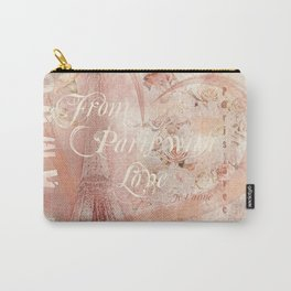 From Paris With Love In Salmon-Rosé Carry-All Pouch