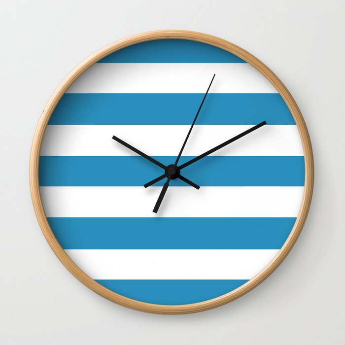 Christmas blue - solid color - white stripes pattern Wall Clock