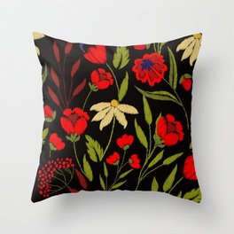 Floral embroidery Throw Pillow