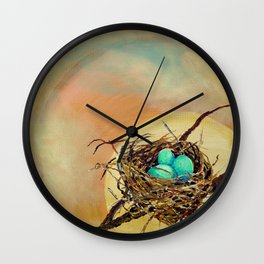 Blue Robin Eggs in a Nest on a Tree Branch Wall Clock