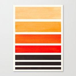 Orange Minimalist Watercolor Mid Century Staggered Stripes Rothko Color Block Geometric Art Canvas Print