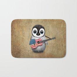 Baby Penguin Playing American Flag Acoustic Guitar Bath Mat