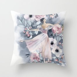 Ballerina and flowers n.4 Throw Pillow