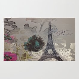 shabby elegance poppy flower french vintage paris Eiffel Tower Rug
