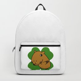 Capybara On 4 Leaf Clover- St. Patricks Day Pun Backpack