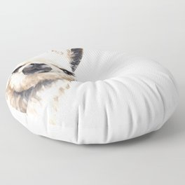 Sneaky Llama White Floor Pillow