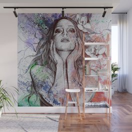 The Withering Spring: Wine (nude tattooed girl with flowers) Wall Mural