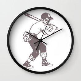 Skull Ballplayer Wall Clock