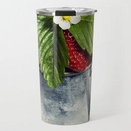 Fresh Berries on Wooden Background. Travel Mug