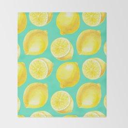 Watercolor lemons pattern Throw Blanket
