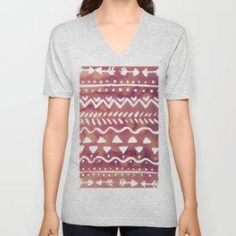Loose boho chic pattern - purple brown Unisex V-Neck