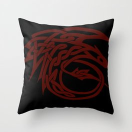 Celtic Knotwork Toothless (RED) Throw Pillow