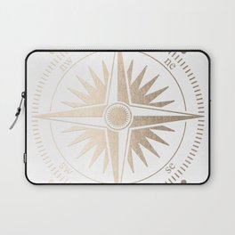 Gold on White Compass Laptop Sleeve