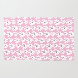Daisies In The Summer Breeze - Pink Grey White Rug
