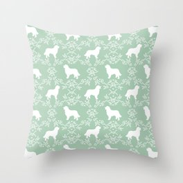 Bernese Mountain Dog florals dog pattern minimal cute gifts for dog lover silhouette mint and white Throw Pillow