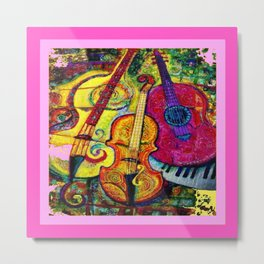 Rose Color Guitar String Instruments Metal Print