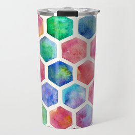 Hand Painted Watercolor Honeycomb Pattern Travel Mug