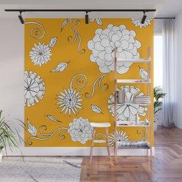 Sunny Crazy Daisy pattern Wall Mural