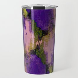 Abstract Nature - Textured, blue, yellow, pink, lilac, purple, black and orange painting Travel Mug