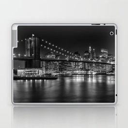 MANHATTAN SKYLINE & BROOKLYN BRIDGE Nightly Impressions | Panoramic Monochrome Laptop & iPad Skin