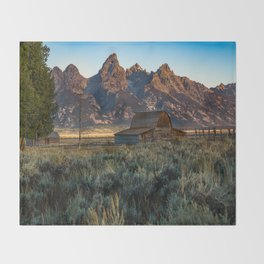 Wyoming - Moulton Barn and Grand Tetons Throw Blanket