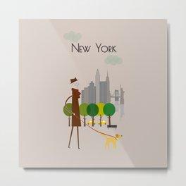 New York - In the City - Retro Travel Poster Design Metal Print