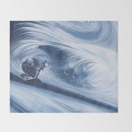 'Snowboarding Blue Blower' Throw Blanket