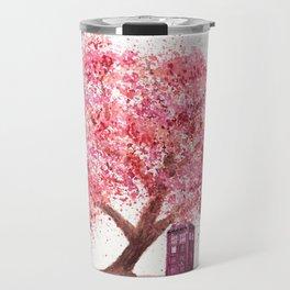 Tardis Art Autumn Tree Blossom Travel Mug