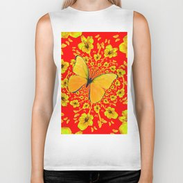 BUTTERFLIES RED  AMARYLLIS FLOWERS ABSTRACT ART Biker Tank