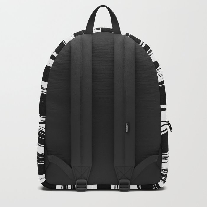 Paint Brush Stripes Black and White Backpack