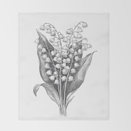 Vintage Snowdrops Throw Blanket