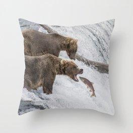 The Catch - Brown Bear vs. Salmon Throw Pillow