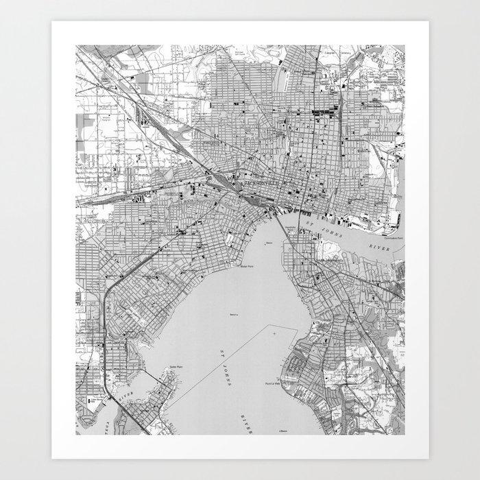 image regarding Printable Map of Jacksonville Fl named Basic Map of Jacksonville Florida (1950) BW Artwork Print as a result of bravuramedia