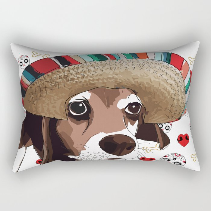 Cinco de Beagle Rectangular Pillow