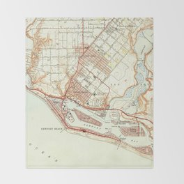 Vintage Map of Newport Beach California (1951) Throw Blanket