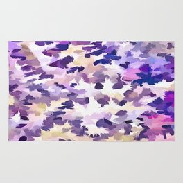 Foliage Abstract Camouflage In Pale Purple and Violet Pastels Rug