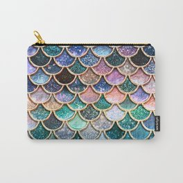 Multicolor Pink And Aqua Mermaid Scales - Beautiful Abstract Glitter Pattern Carry-All Pouch