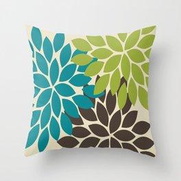 Bold Colorful Biege Brown Teal Green Dahlia Flower Burst Petals Throw Pillow