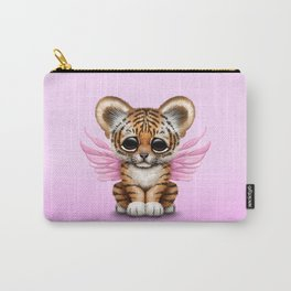 Cute Baby Tiger Cub with Fairy Wings on Pink Carry-All Pouch