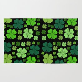 Saint Patrick's Day, Four Leafed Clovers - Green Rug