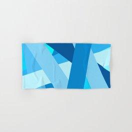 Retro Blue Mid-Century Minimalist Geometric Line Abstract Art Hand & Bath Towel