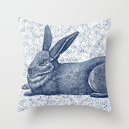 Rabbit print, Vintage Rabbit, Animal Wall Art Throw Pillow